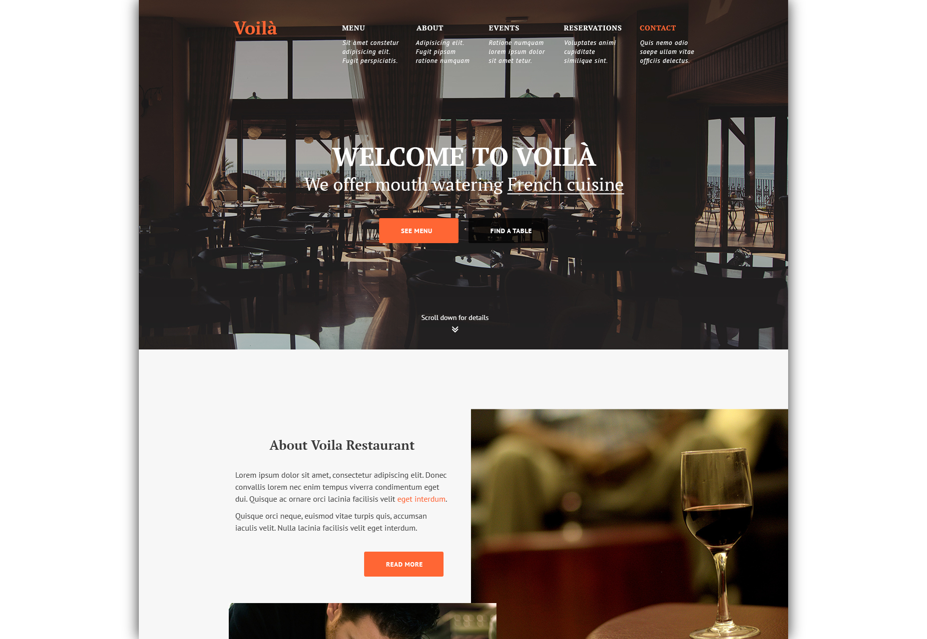 Voila: Restaurant Website PSD Template