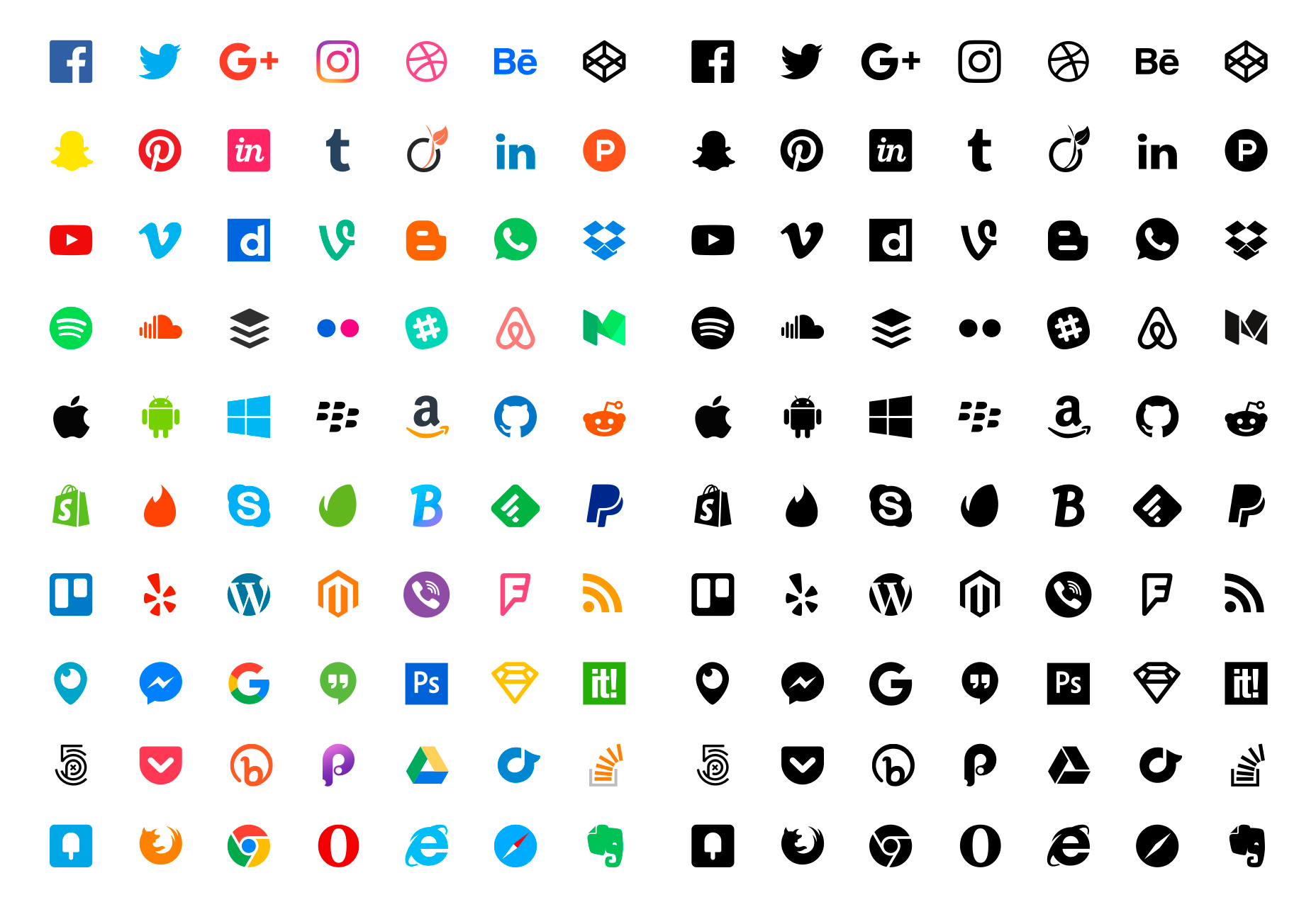 70 Flat Social Sketch Icons