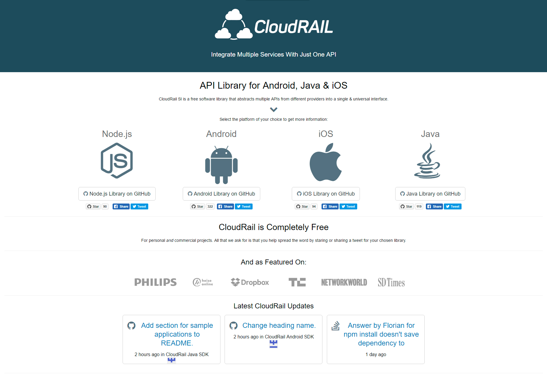 CloudRail: Multi-platform Unified API