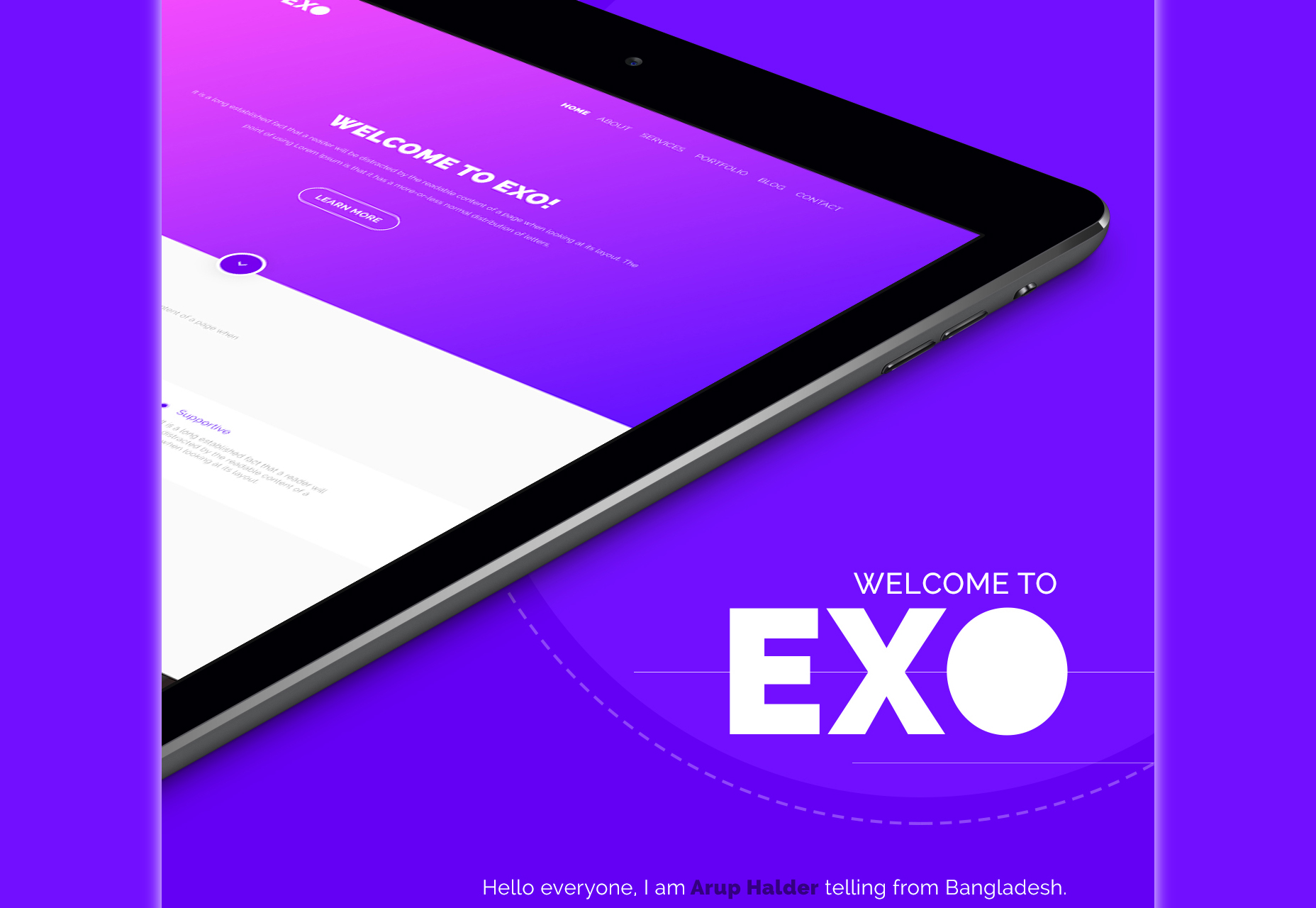 EXO: Modern One-page PSD Theme