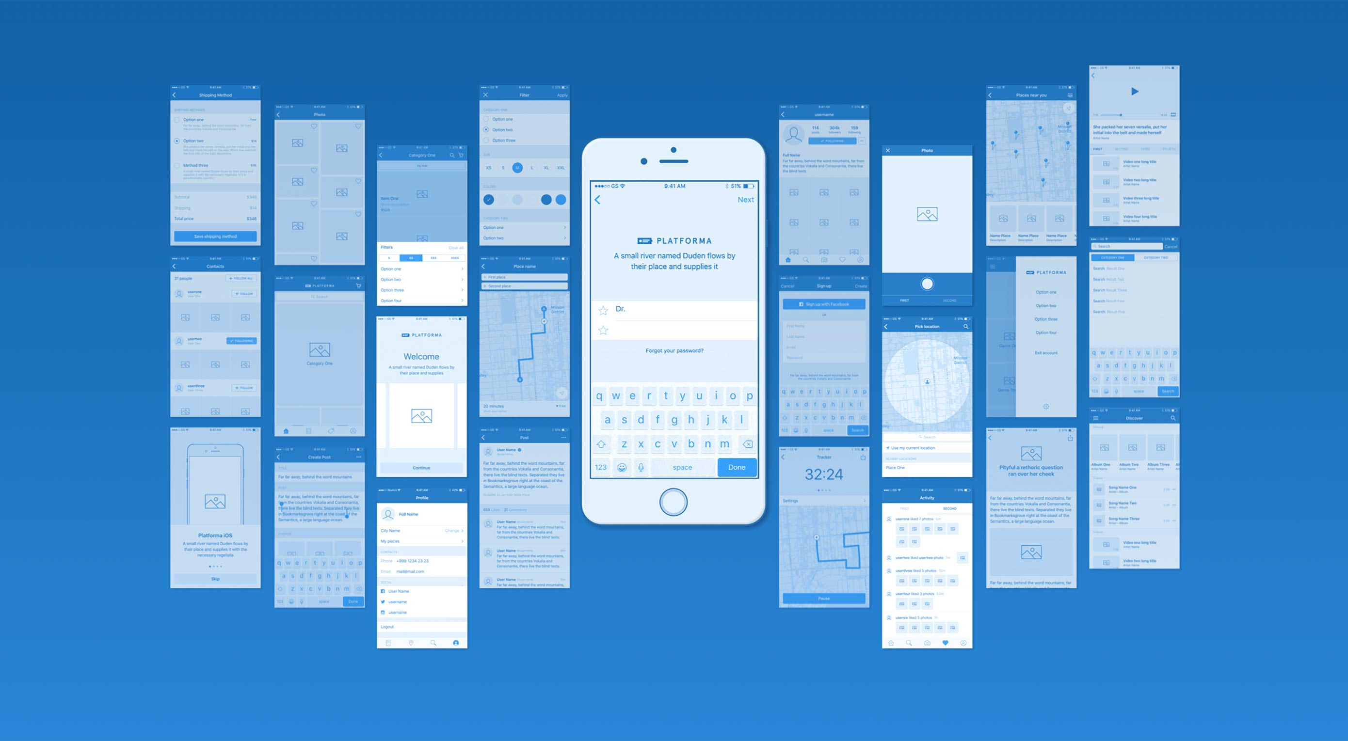 Free download: Platforma iOS and web wireframe kits