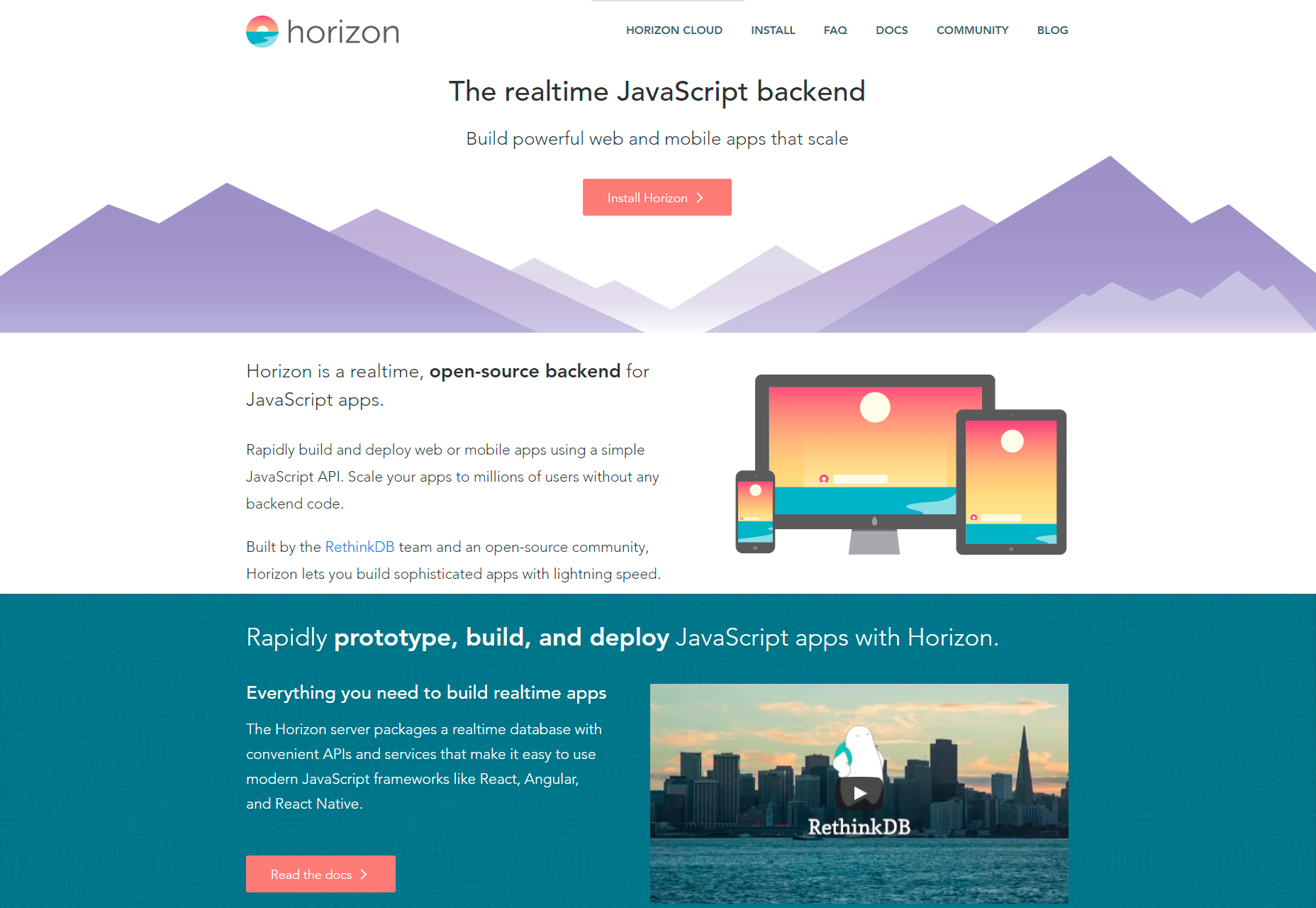 Horizon: Realtime Open-source JavaScript Backend