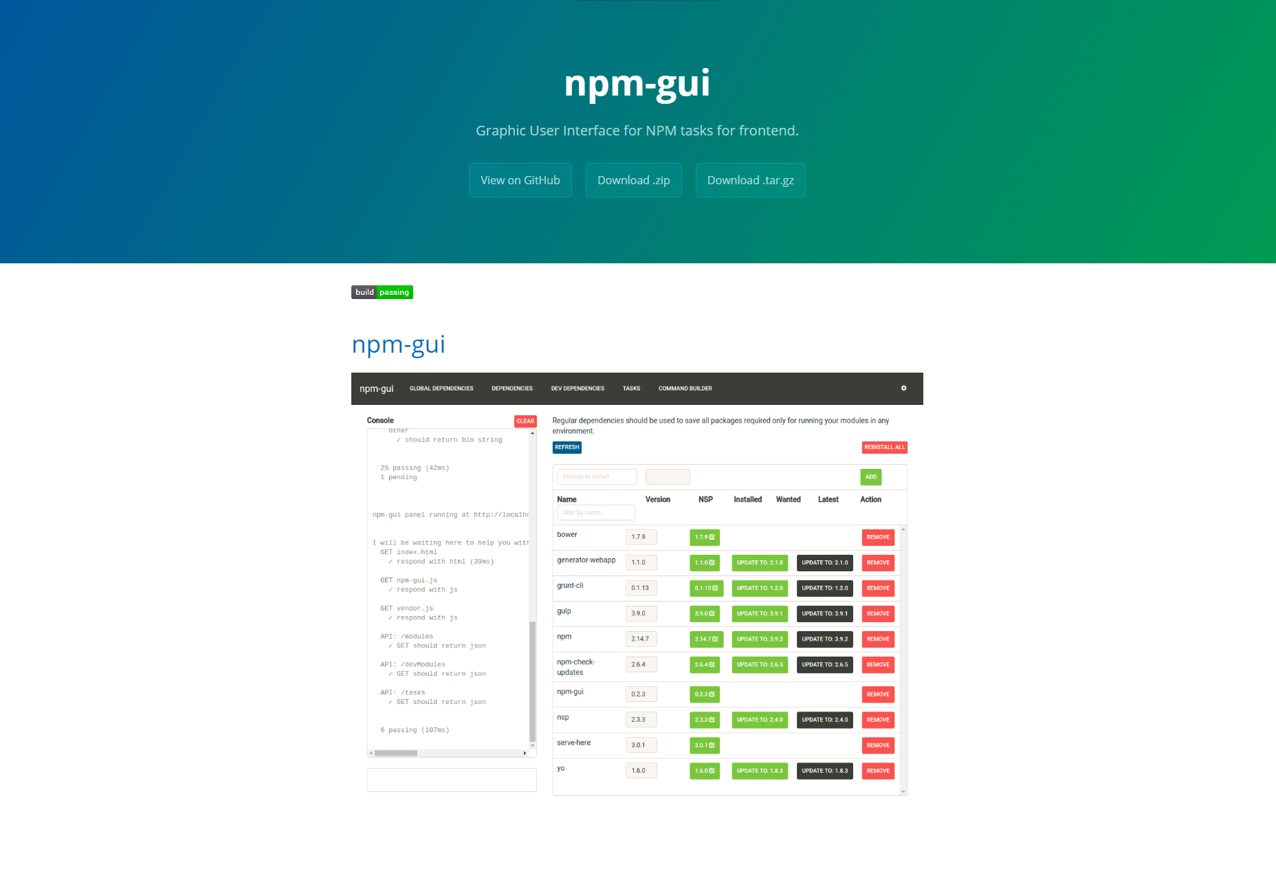 Npm-gui: Frontend NPM Tasks GUI