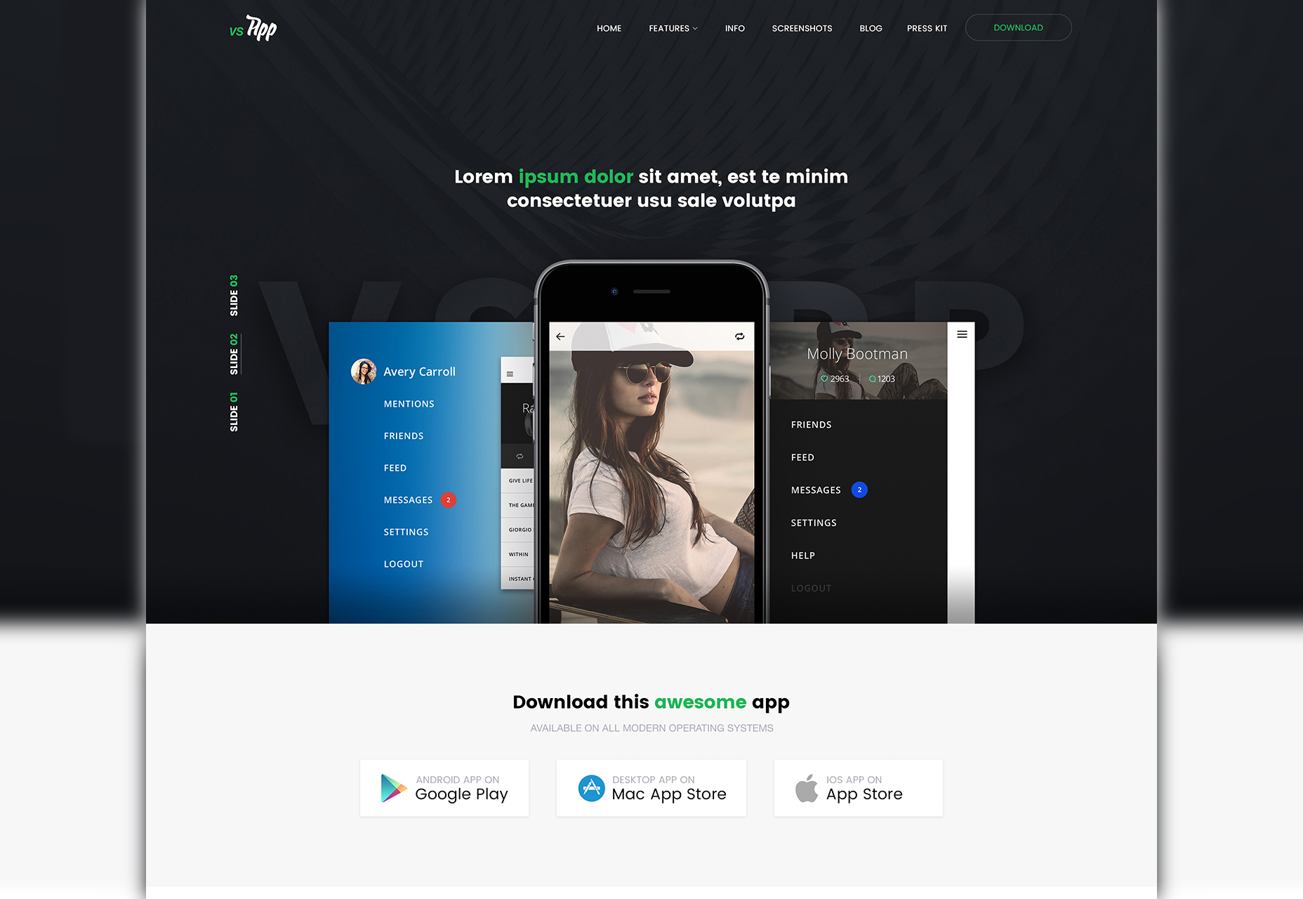 VSApp: Mobile & Web PSD Template