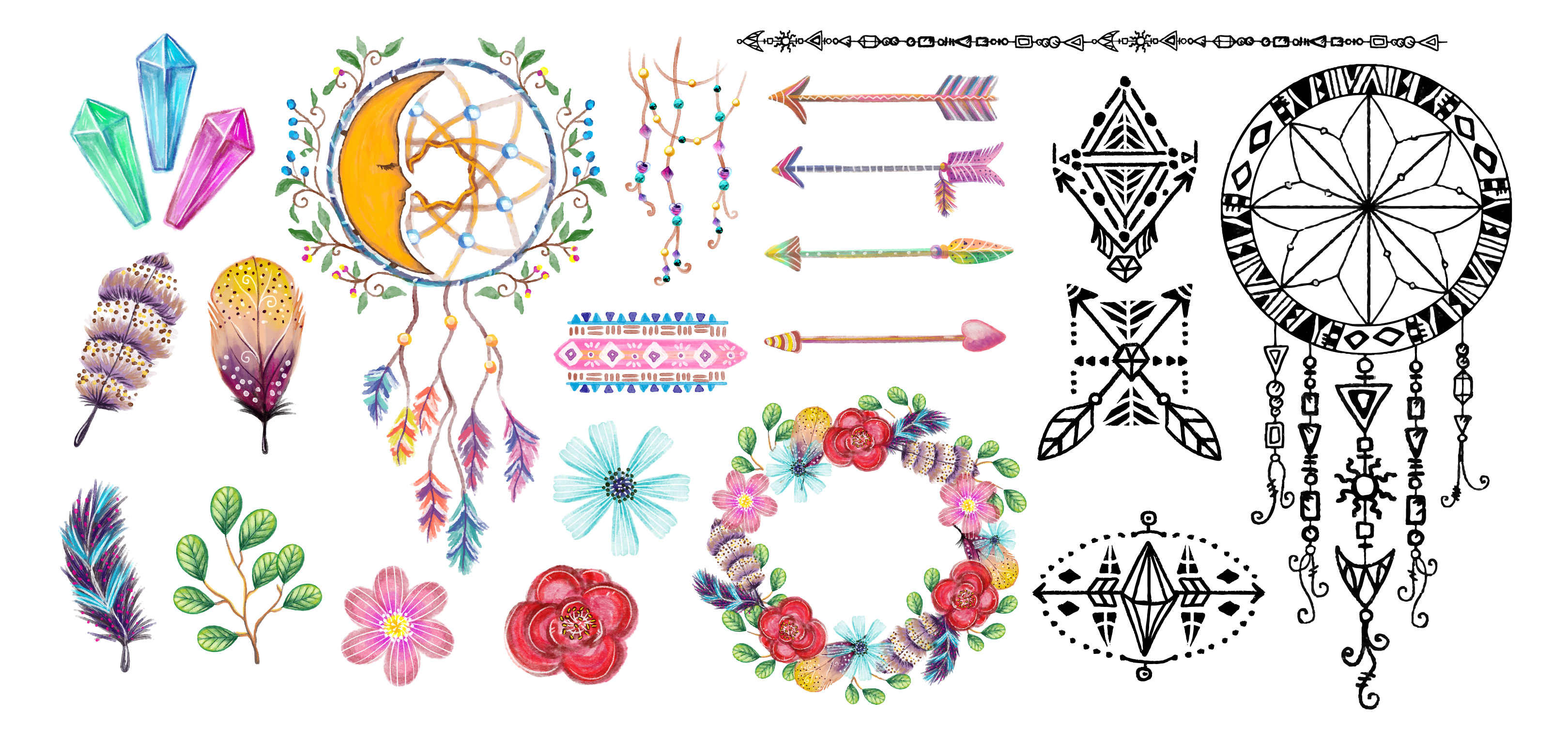 Free Download: Watercolor bohemian elements and illustrations