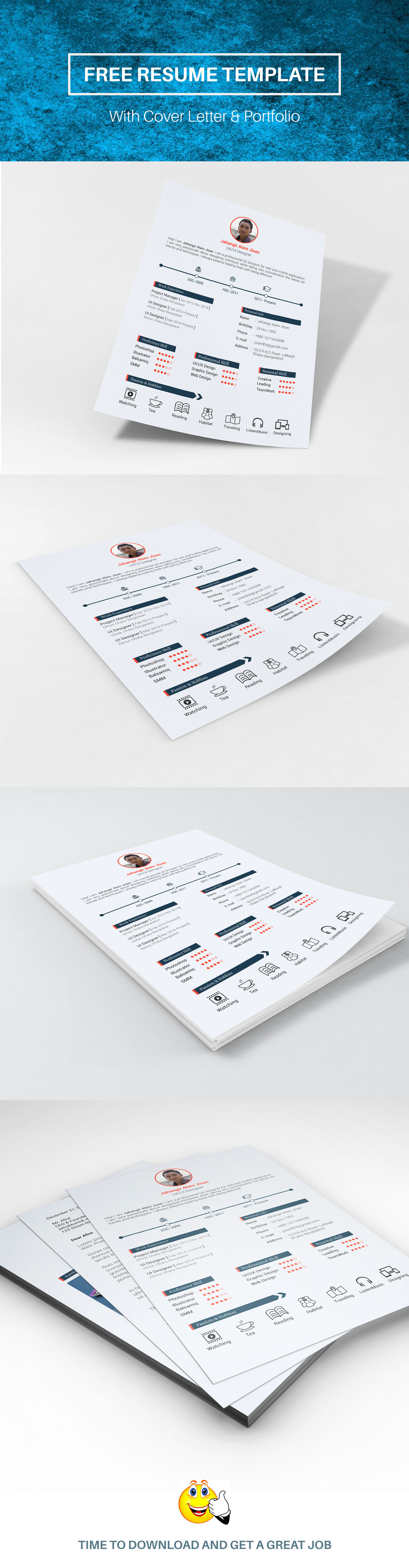 free download resume template with cover letter and portfolio