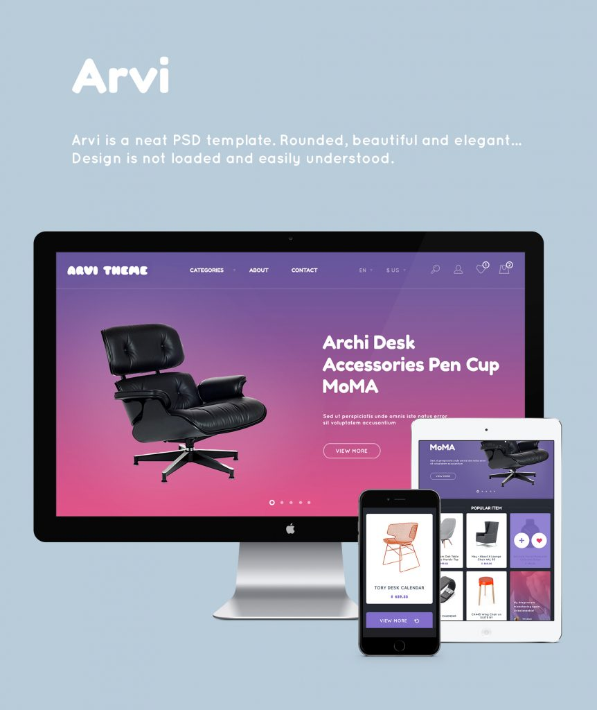 Free Download: Arvi PSD Template