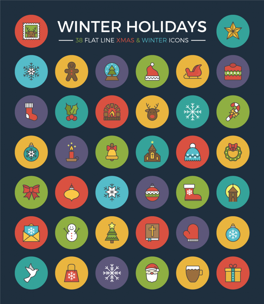Free Download: Winter Holidays Flat Line Icon Set