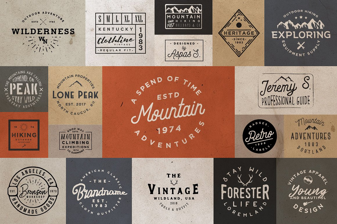 Free Download: 20 Minimal Retro Badges