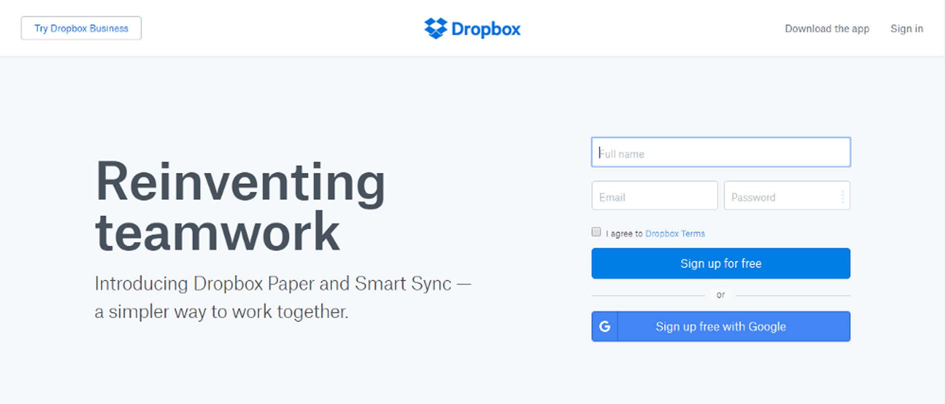 picture of dropbox landing page design