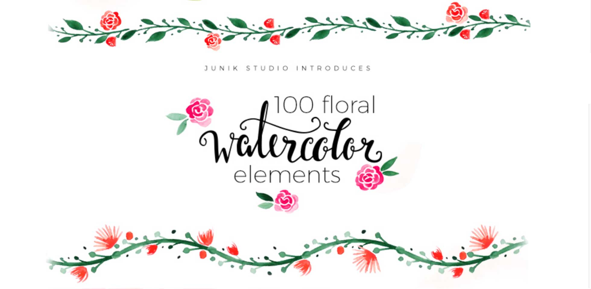 Free Download: 100 Watercolor Floral Elements