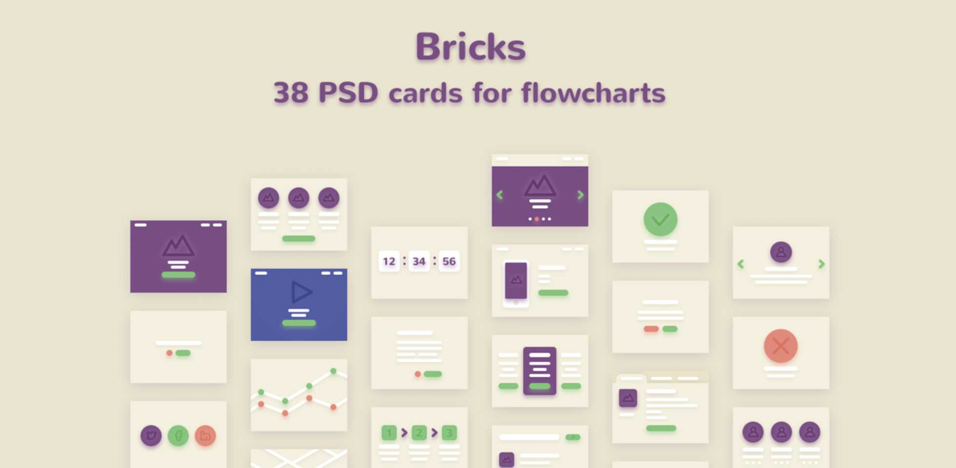 Free Download: Bricks - 38 PSD Cards for Flowcharts