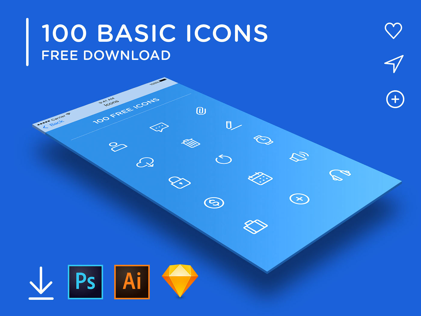 Free Download: 100 Basic Icons