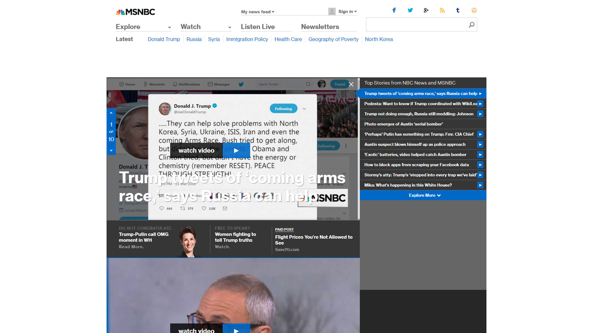 Old MSNBC Home Page