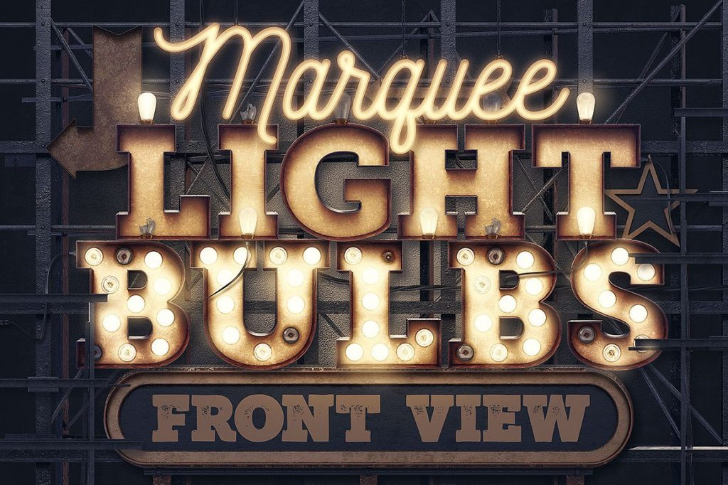 Free Download: Marquee Light Bulbs 3D Numbers