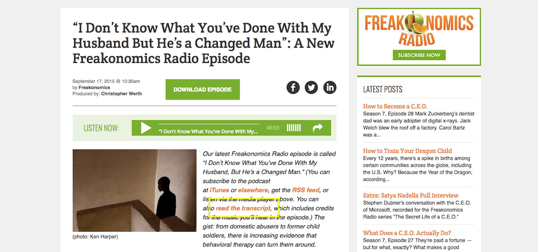 Freakonomics Transcript