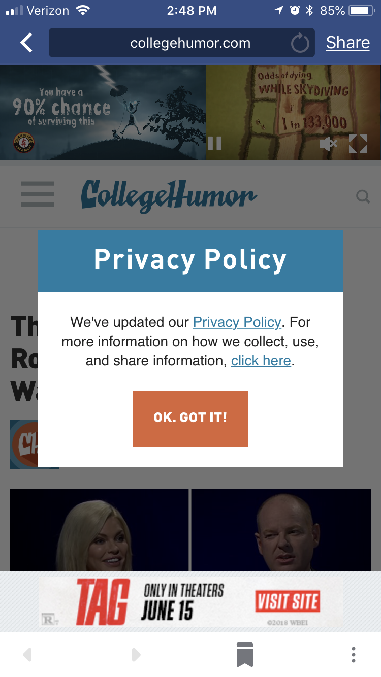 College Humor Entry Modal