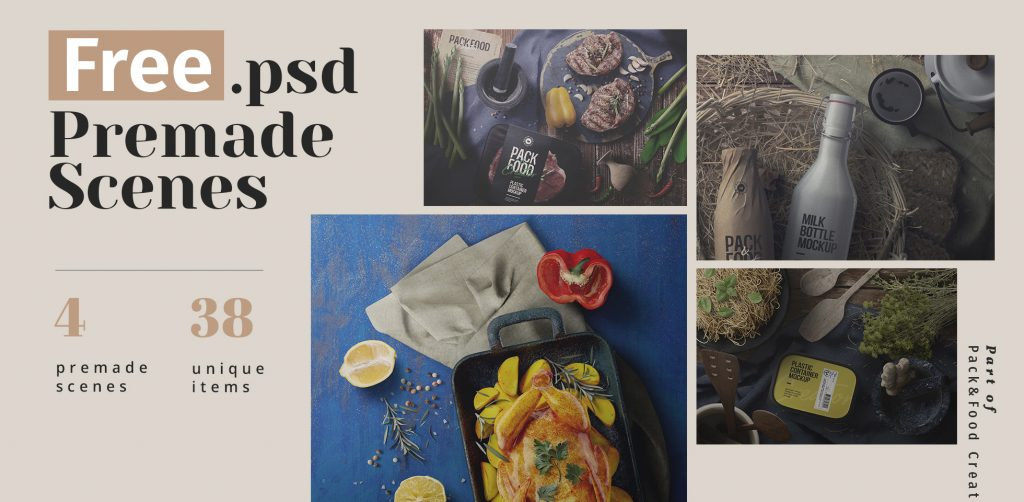 Free Download: Food Packaging Premade Scenes