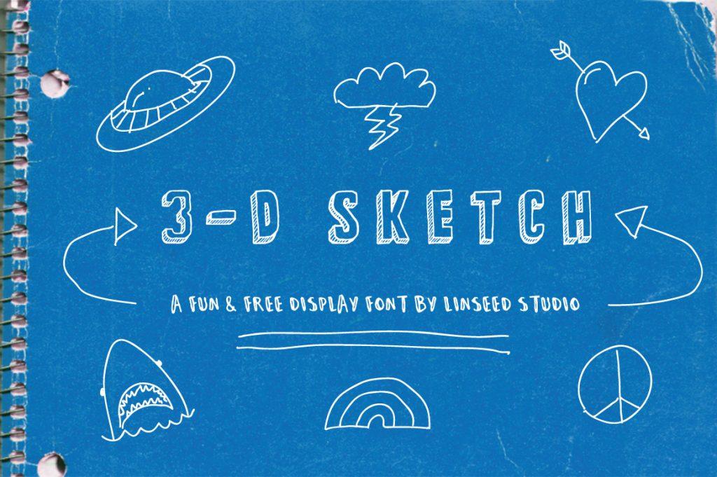 Free Download: 3-D Sketch Display Font
