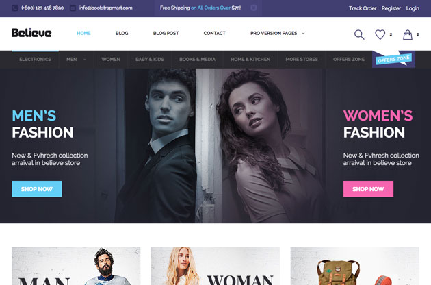 Free Download: Believe – Bootstrap eCommerce Template