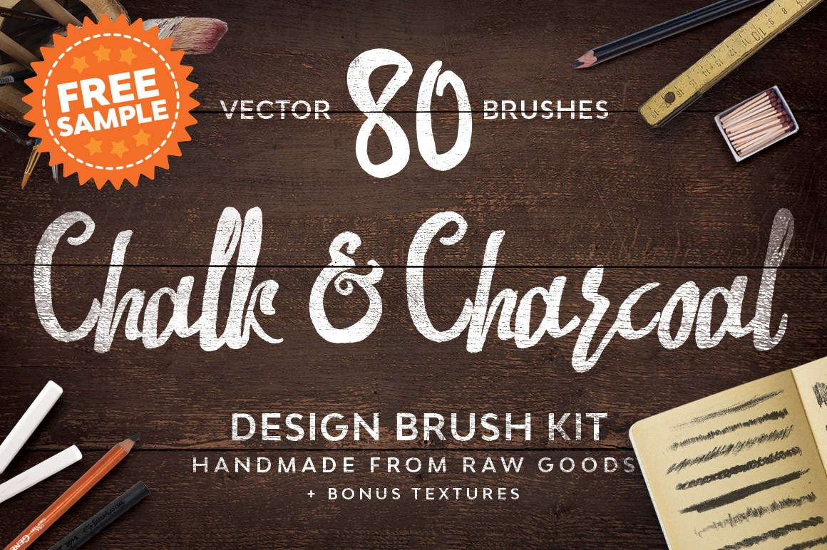 Free Download: Chalk & Charcoal Vector Brushes Sample