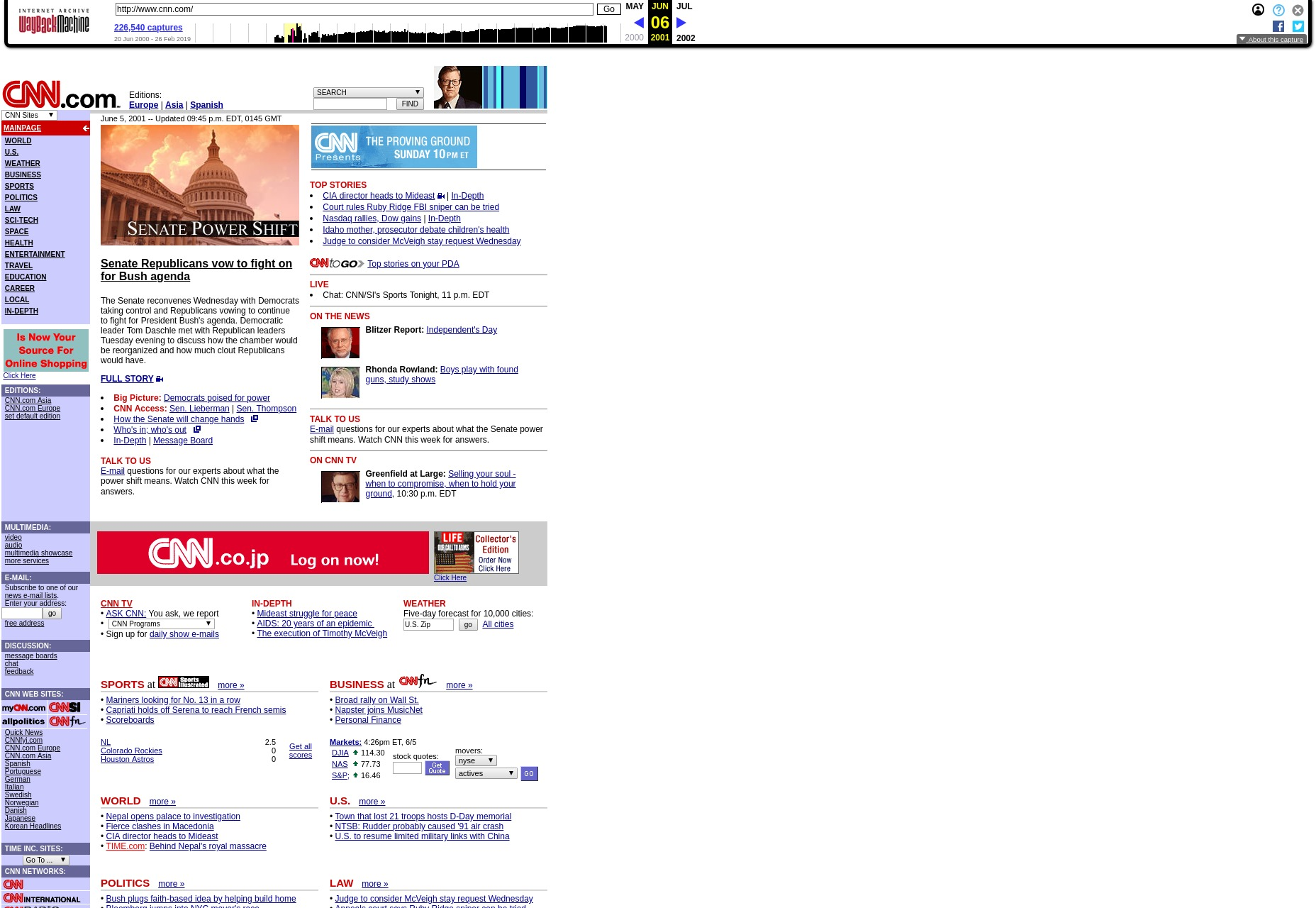 cnn's homepage back in the day
