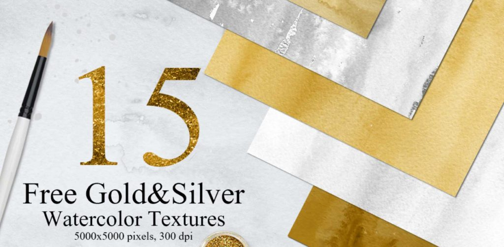 Free Download: 15 Gold & Silver Watercolor Textures