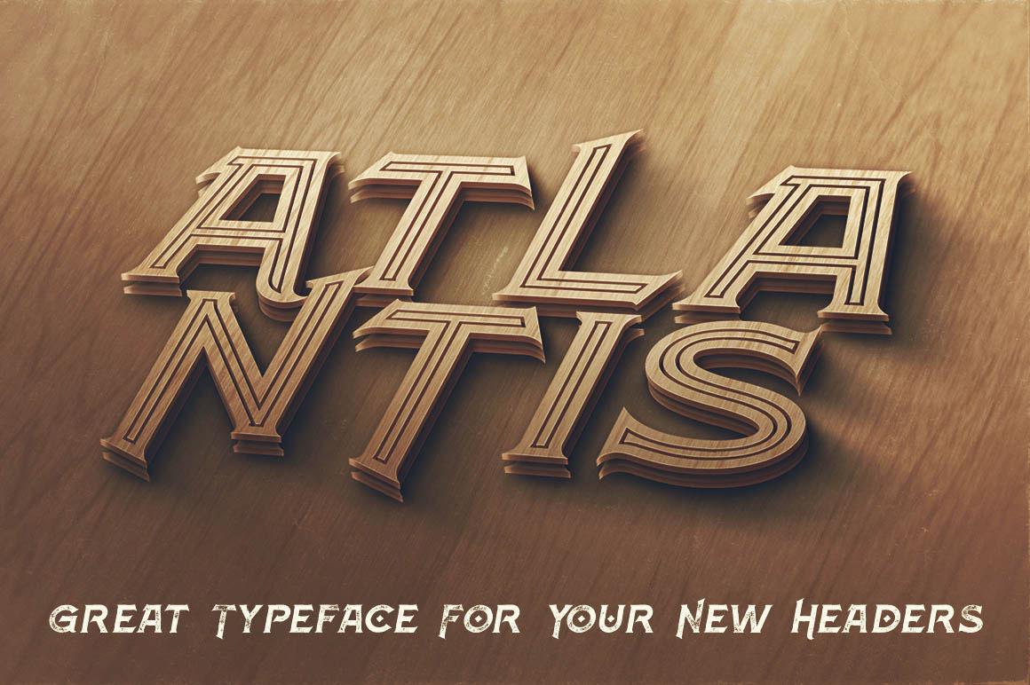 Free Download: Atlantis Inline Grunge Font