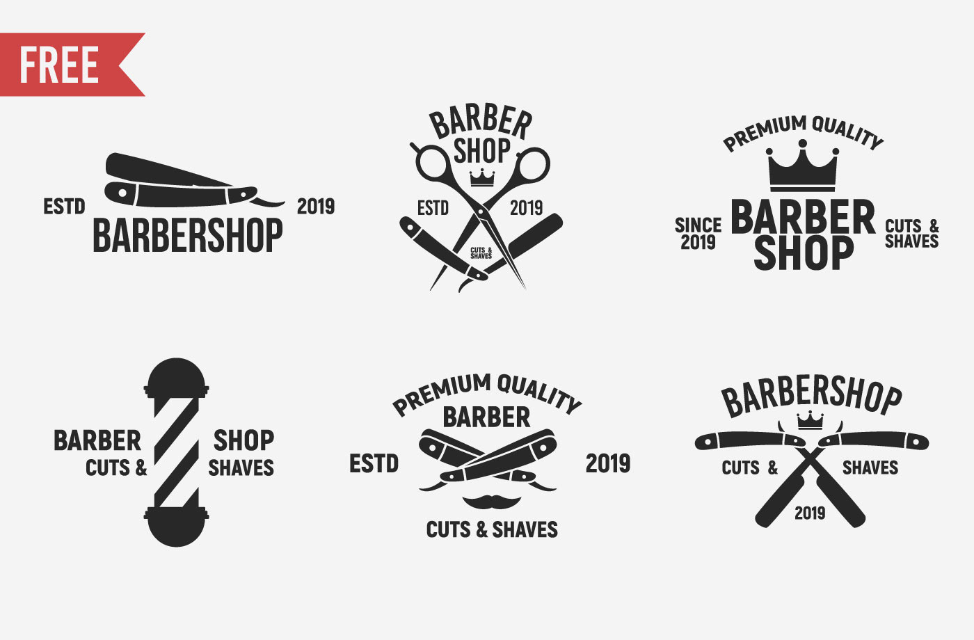 Free Download: 6 Vintage Barber Shop Logos
