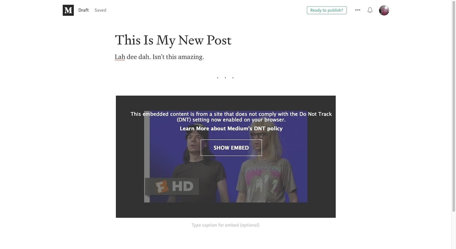 Medium YouTube Embeds
