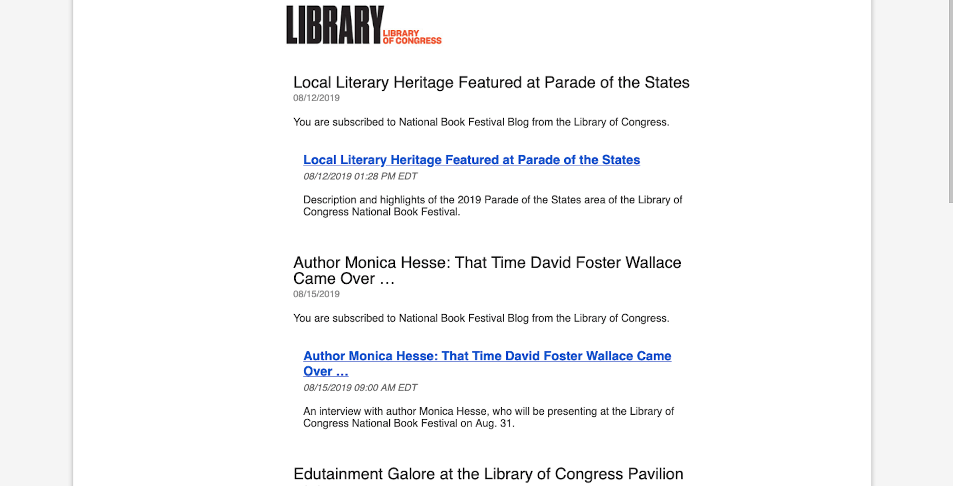 Library of Congress Newsletter