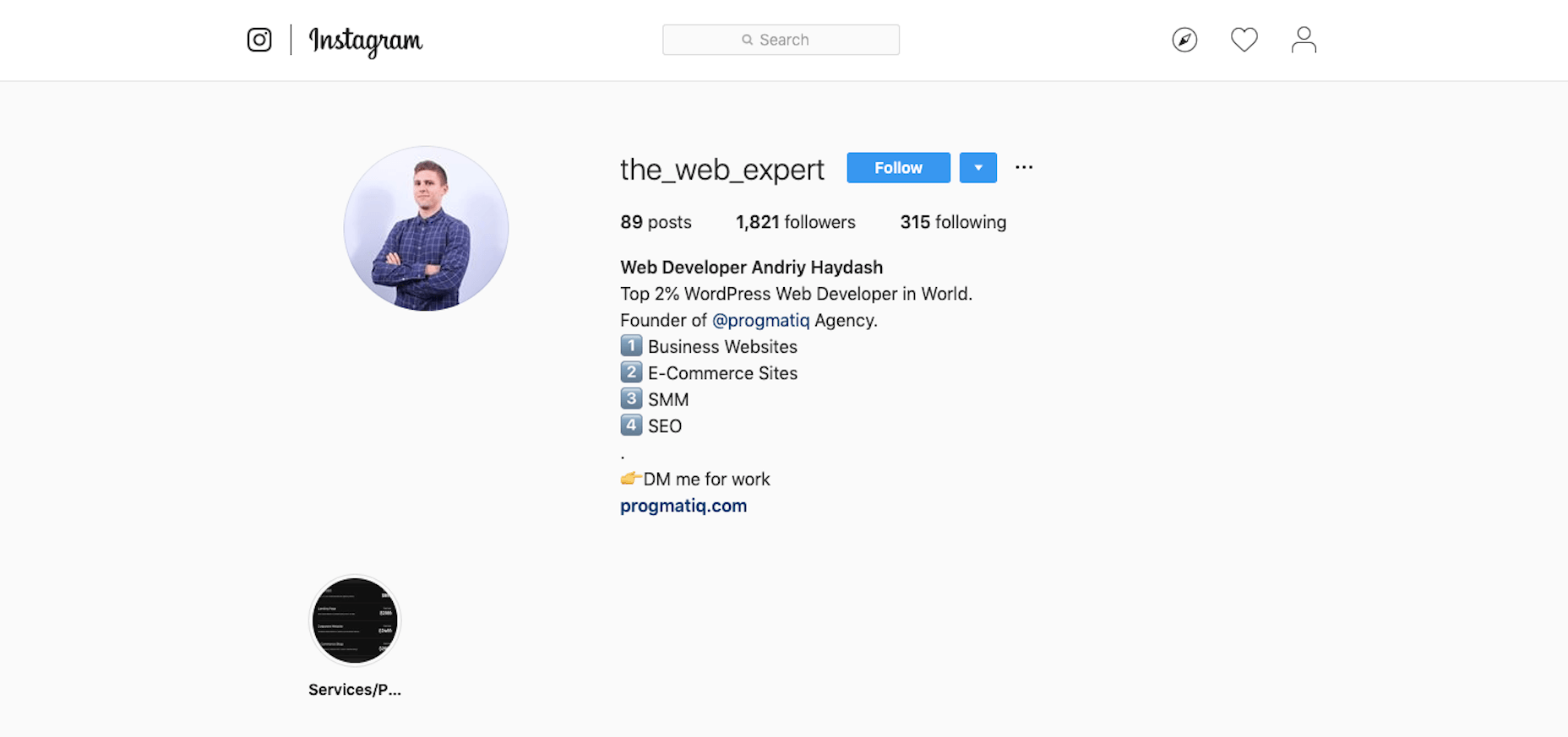The Web Expert Profile