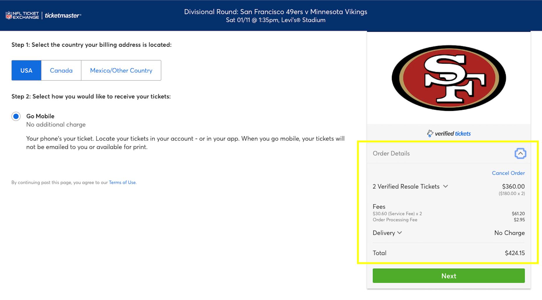 Ticketmaster - Order Details