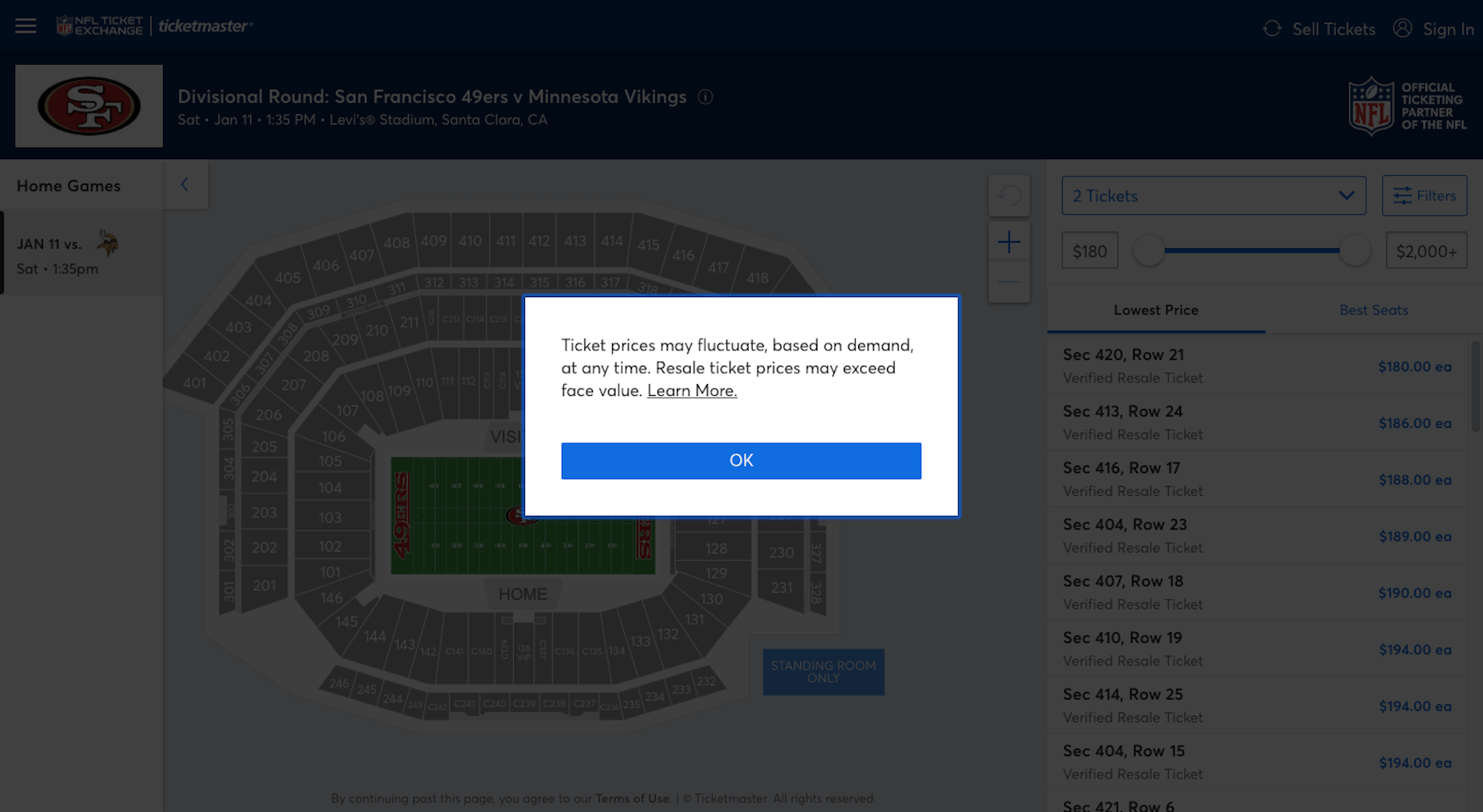 Ticketmaster - Price Notice