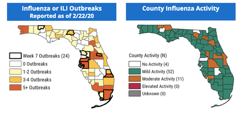 Florida Department of Health - Influenza Activity map and data