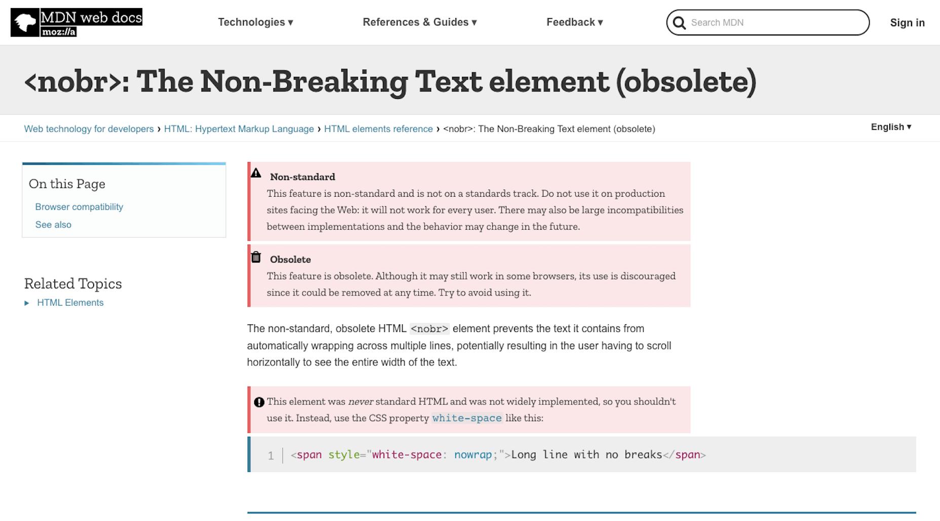 Mozilla Warning About nobr