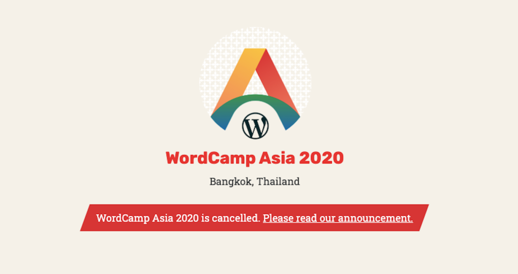 WordCamp Asia Canceled - Coronavírus