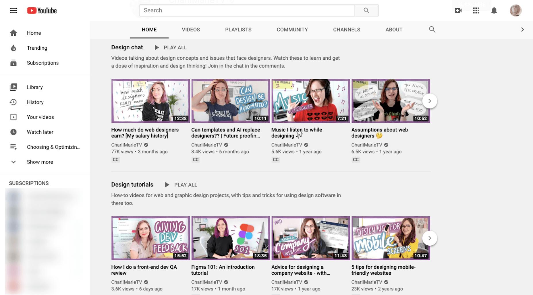 Chaîne YouTube CharliMarieTV et cours