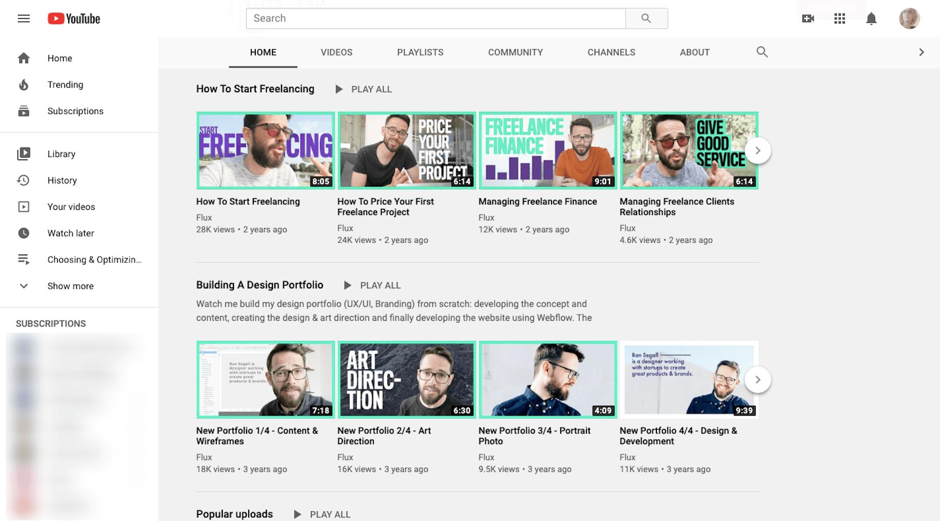 Cours de conception de sites web sur Flux YouTube