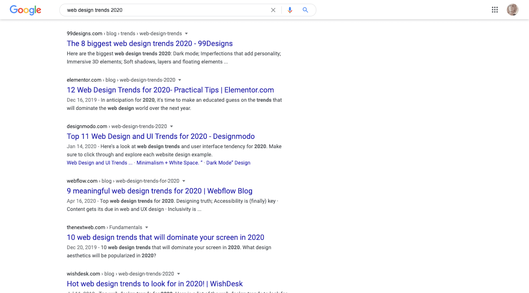 "Google Search ""web design trends 2020"""