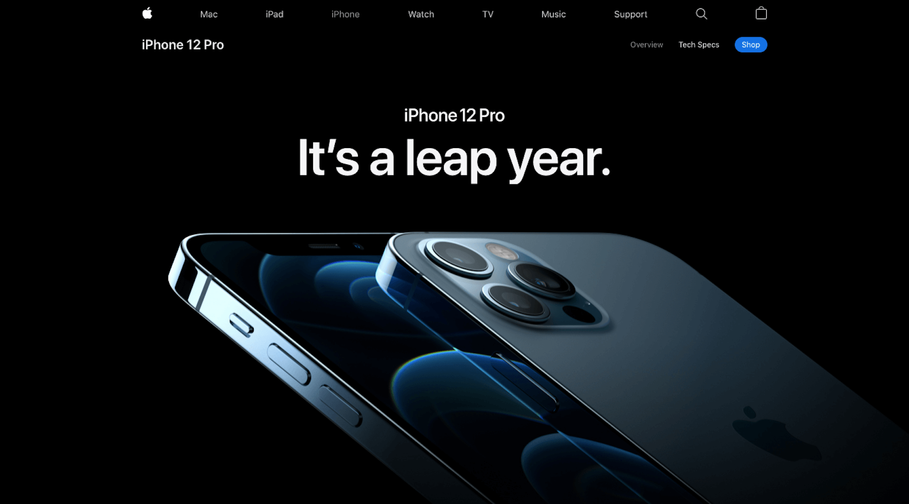Apple page for the iPhone 12 product line