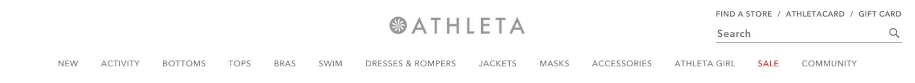 Athleta website header - branding and visual identity