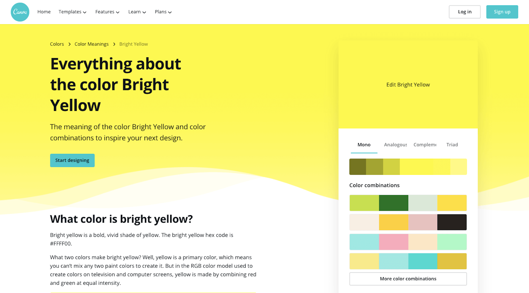 """A description of the color """"Bright Yellow"""" from Canva"""