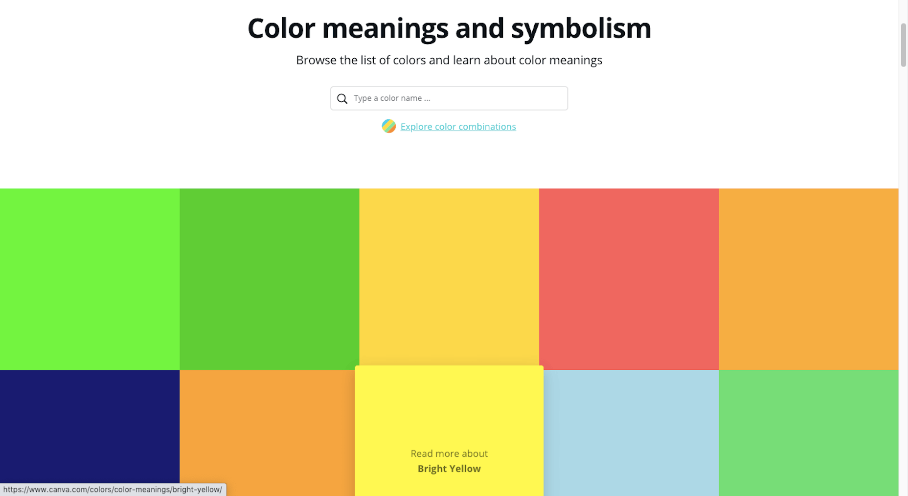 Canva Color Meanings tool