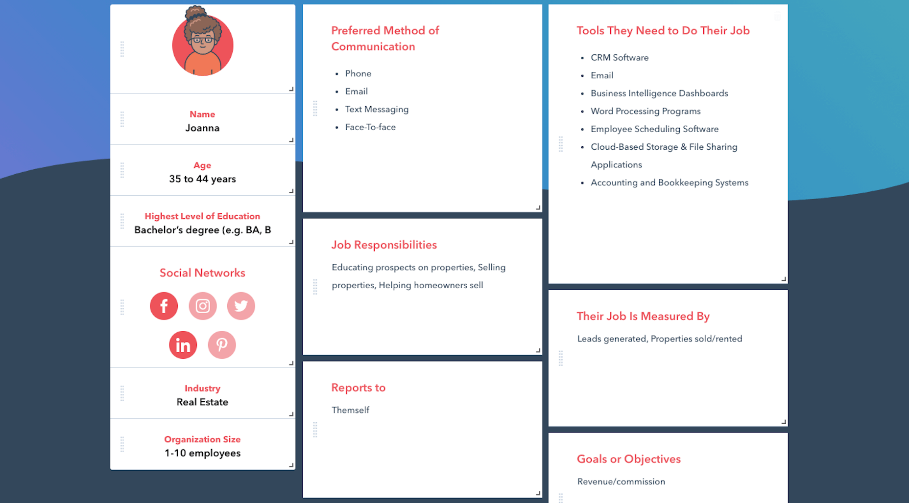 An example user persona card generated using Hubspot's Make Your Persona generator
