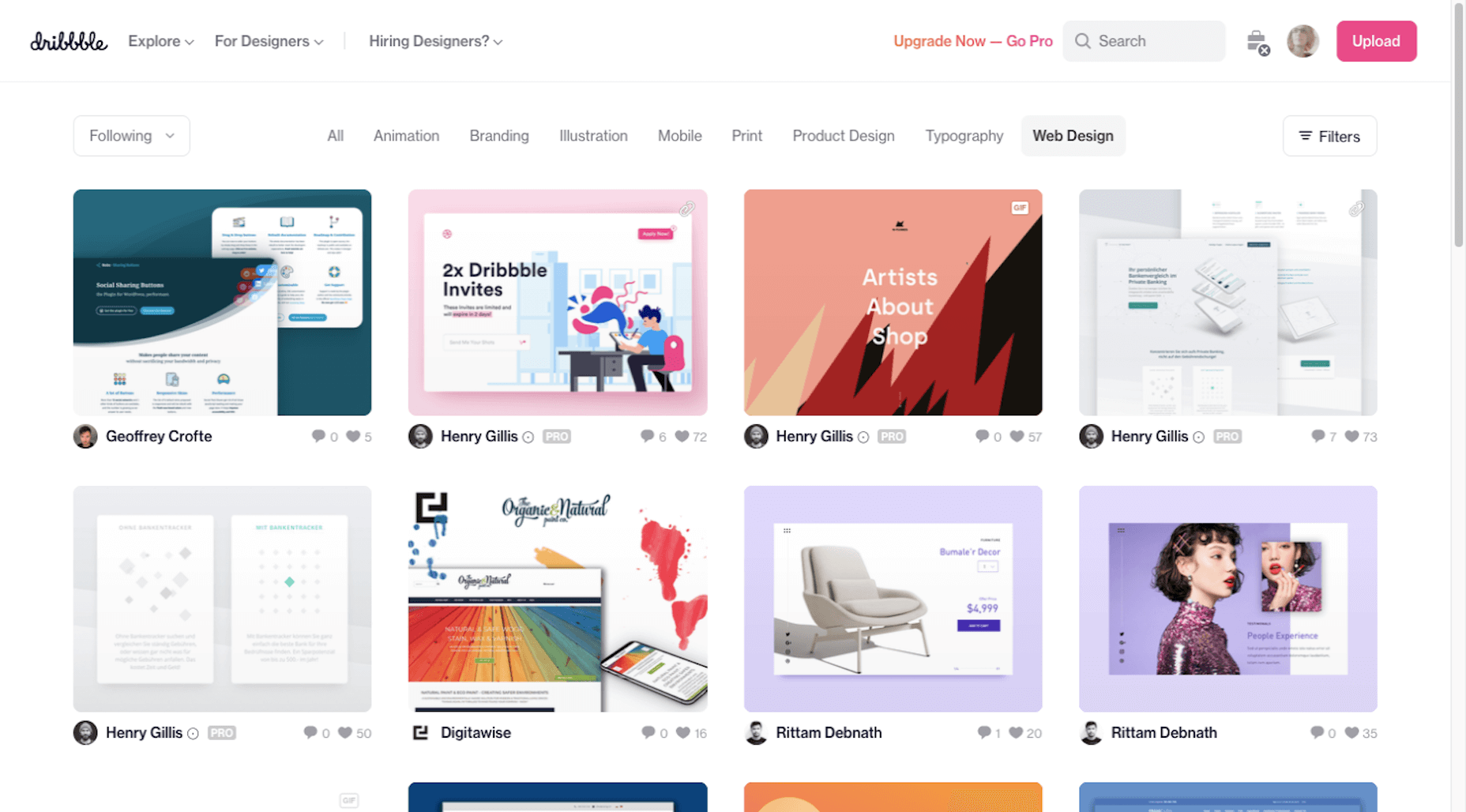 Dribbble homepage - search for web design work