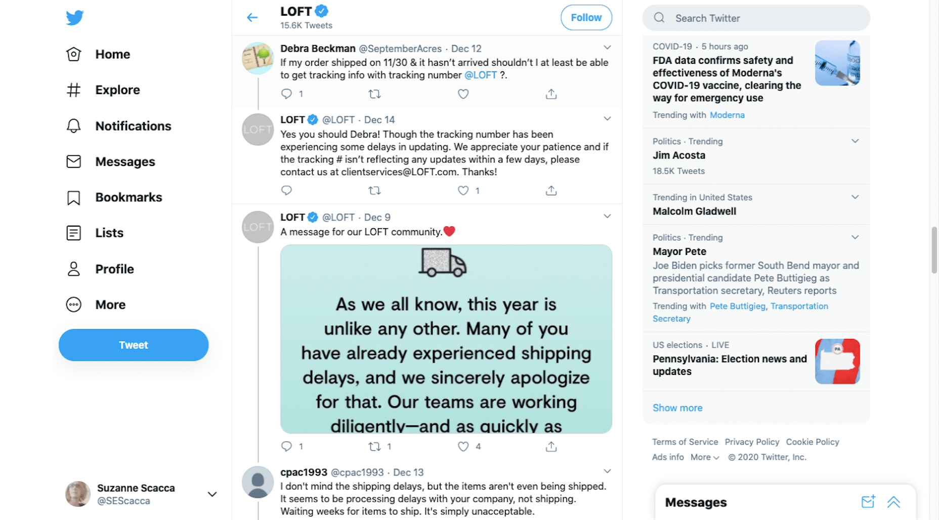 LOFT customers on Twitter upset about shipping delays
