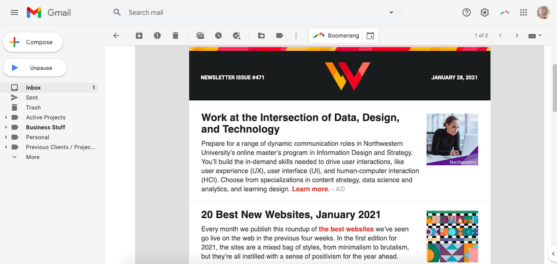 A WebDesigner Depot newsletter from 2021
