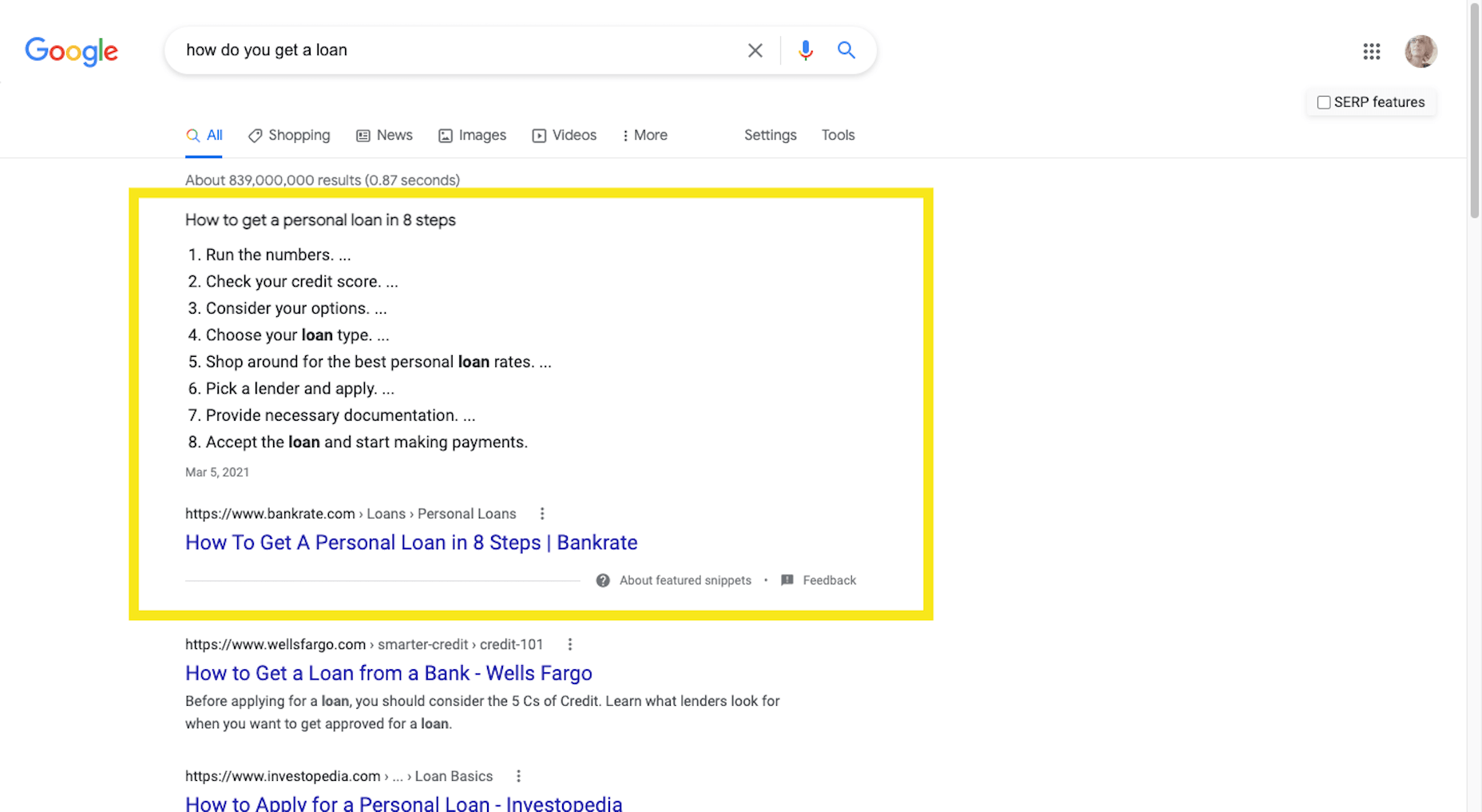 """A featured snippet example from Google that answers """"how to get a loan"""""""