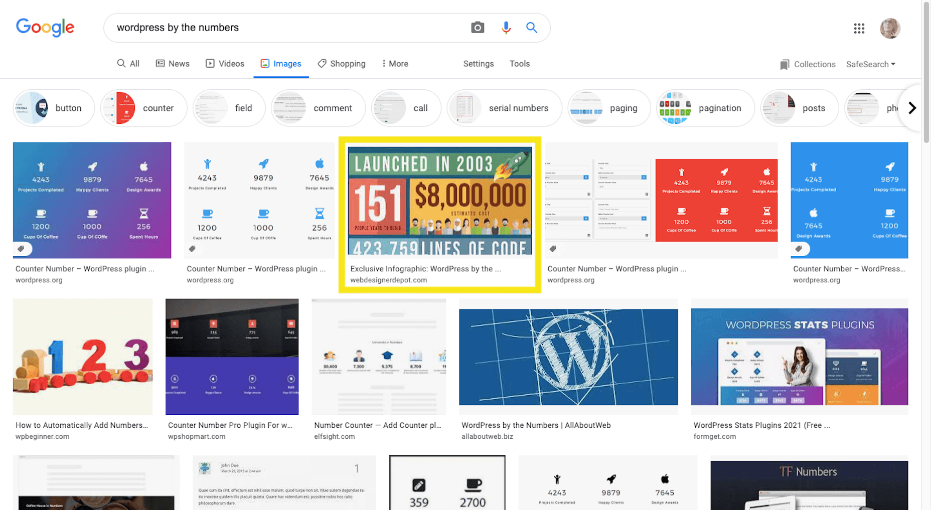 """A Google Images search for """"WordPress by the numbers"""""""